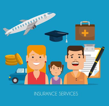 insurance services concept home car health travel education vector illustration graphic design Illustration