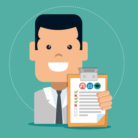 insurance service business agent with a contract vector illustration graphic design Vettoriali