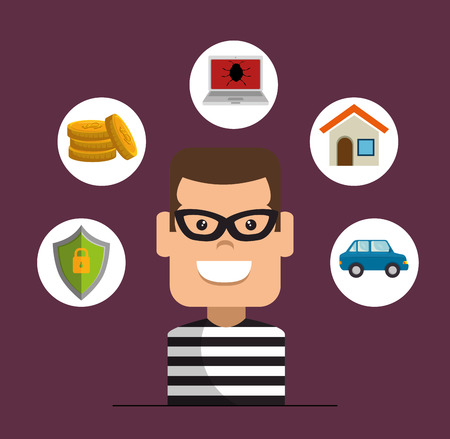 Criminal stealing money, home burglary, car insurance, hacker, House Thief Security Protection Insurance vector illustration graphic design