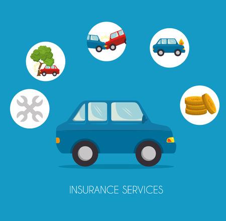 Van de het de dienstconcept van de autoverzekering de illustratie grafisch ontwerp Stock Illustratie
