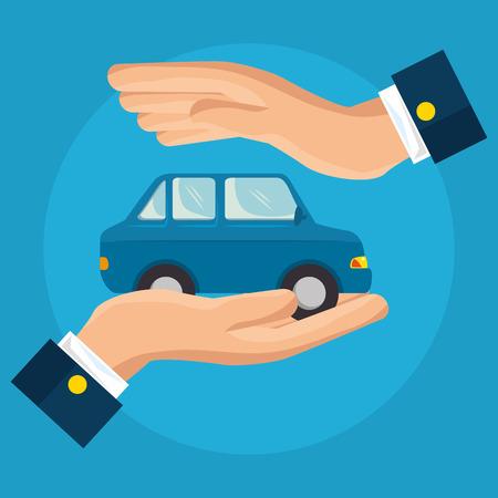 Conception graphique de voiture assurance service concept vector illustration