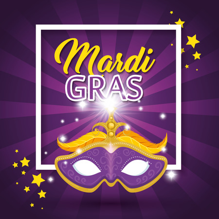Mardi gras lettering poster with mask carnival banner vector illustration graphic design Vettoriali