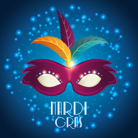 Mardi gras lettering poster with mask carnival banner vector illustration graphic design Illustration