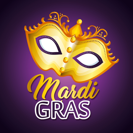 Mardi gras lettering poster with mask carnival banner vector illustration graphic design Stok Fotoğraf - 93020701