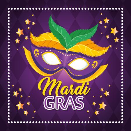 Mardi gras lettering poster with mask carnival banner vector illustration graphic design Ilustrace