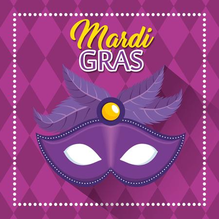 mardi gras belettering poster met grafische illustratie van carnaval banner vector illustratie