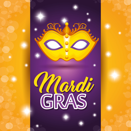 Mardi gras lettering poster with mask carnival banner vector illustration graphic design Illustration