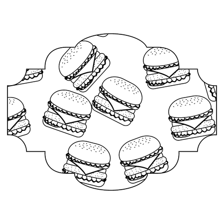 Rahmen mit Hamburger Muster Hintergrund Vektor-Illustration Design Standard-Bild - 93024309