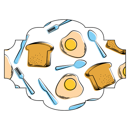 Frame met eieren en bestekpatroon achtergrond vectorillustratieontwerp Stockfoto - 93024486