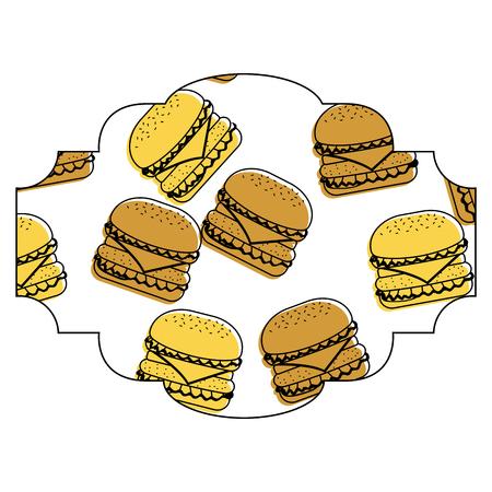 Rahmen mit Hamburger Muster Hintergrund Vektor-Illustration Design Standard-Bild - 93024698