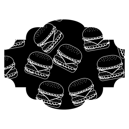 Frame with hamburgers pattern background vector illustration design.