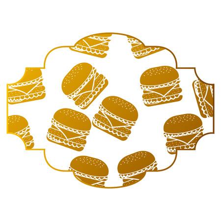 Rahmen mit Hamburger Muster Hintergrund Vektor-Illustration Design Standard-Bild - 93046403