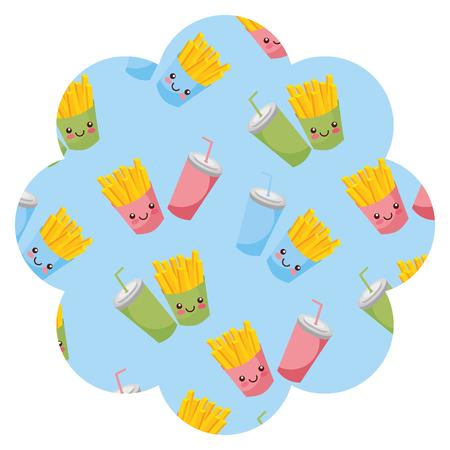 Frame with fast food pattern background vector illustration design.