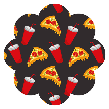 frame with pizza and soda pattern background vector illustration design