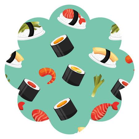 Frame with sushi pattern background vector illustration design. Illustration