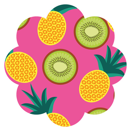 frame with fruits pattern background vector illustration design