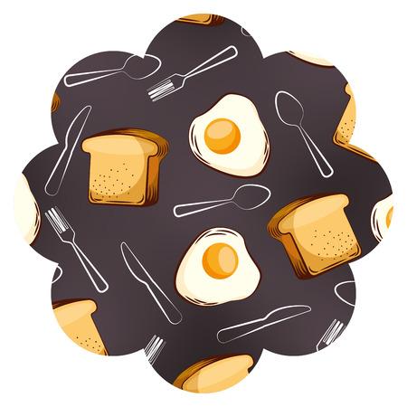 Kader met eieren en van het bestekpatroon vectorillustratieontwerp als achtergrond. Stock Illustratie