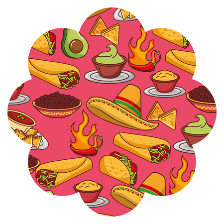 Frame with Mexican food pattern background design.