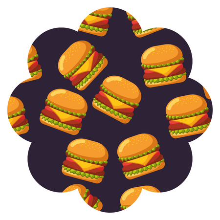 Frame with hamburgers pattern background vector illustration design