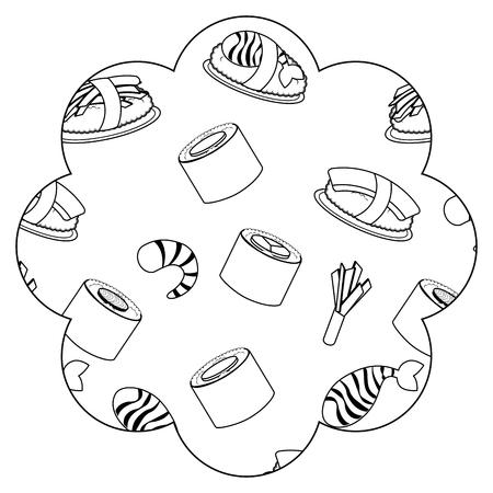 Frame with sushi pattern background. Vector illustration design. Illustration