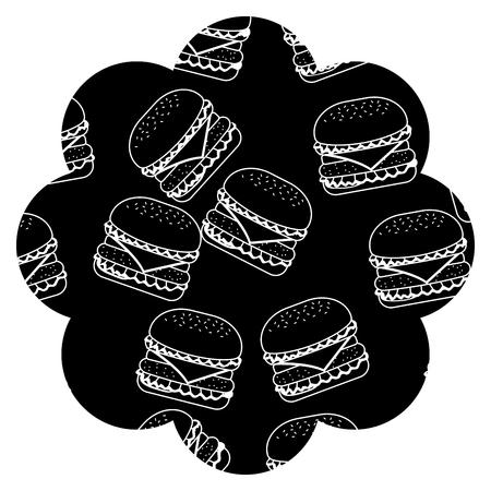Frame with hamburgers pattern background. Vector illustration design. Illustration