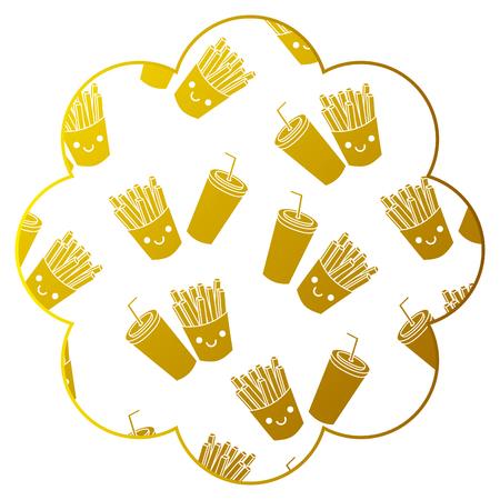Frame with fast food pattern background. Vector illustration design.