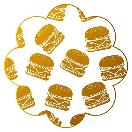 Frame with hamburgers pattern background, vector illustration design Illustration