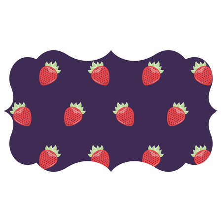 Frame with blackberries pattern background vector illustration design