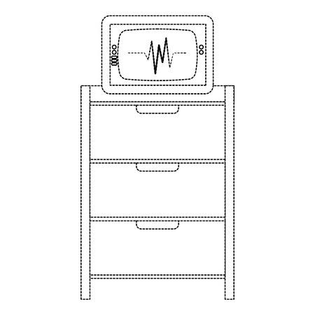 Hospital operating drawer with ecg machine vector illustration design Иллюстрация