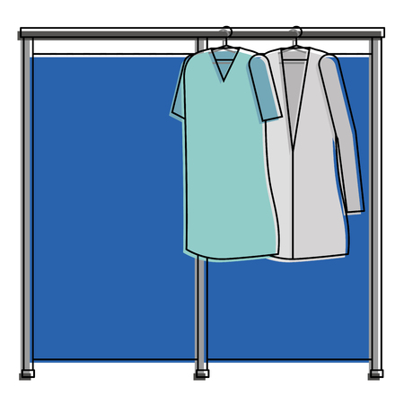 Doctor and patient coats hanging icon vector illustration design. Illustration