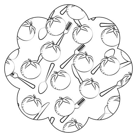 Pagina con progettazione dell'illustrazione di vettore del fondo del modello della coltelleria e dei pomodori Archivio Fotografico - 93090458