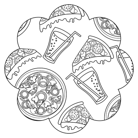 Frame with pizza and soda pattern background vector illustration design  イラスト・ベクター素材