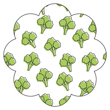 frame with broccoli pattern background vector illustration design Ilustração