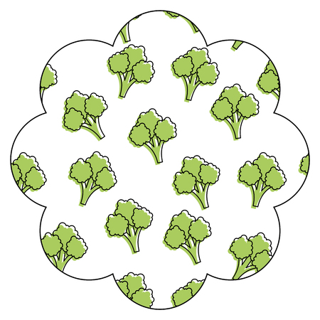 frame with broccoli pattern background vector illustration design Illusztráció