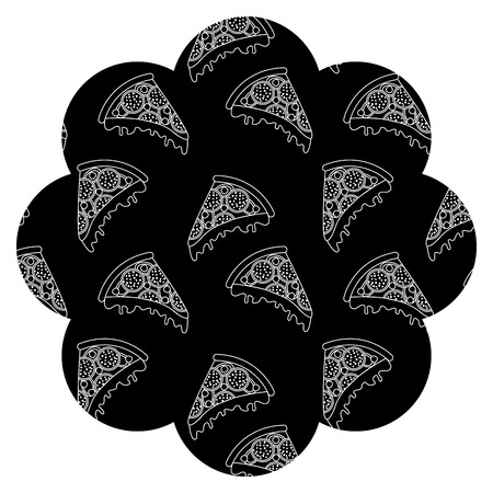 frame with pizza pattern background vector illustration design  イラスト・ベクター素材