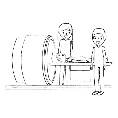 tomography scanner machine with patient and doctor vector illustration Illustration