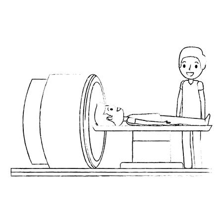Macchina scanner tomografia con paziente e medico illustrazione vettoriale Archivio Fotografico - 93128526