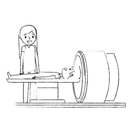 machine à scanner avec le patient et le médecin illustration vectorielle
