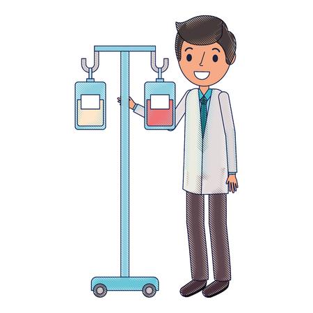 Medicine and blood bags hanging with doctor vector illustration design Illustration