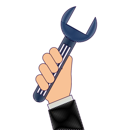 Hand with wrench key isolated icon vector illustration design 向量圖像