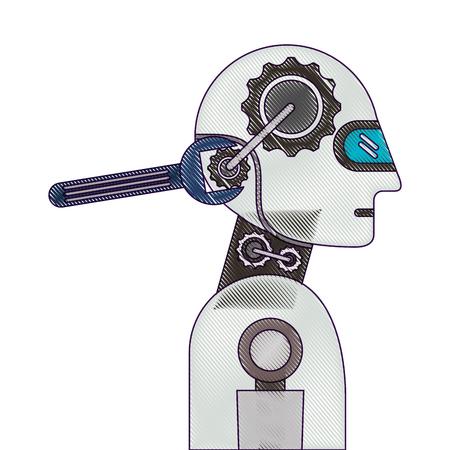 レンチベクトルイラストデザインのヒューマノイドロボットプロファイル