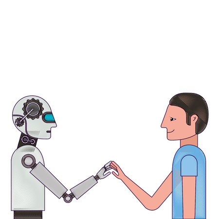 Humanoid robot and person profiles vector illustration design