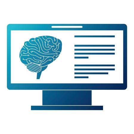 Monitor computer with brain vector illustration design