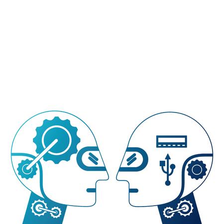 Humanoids robots profiles icon vector illustration design