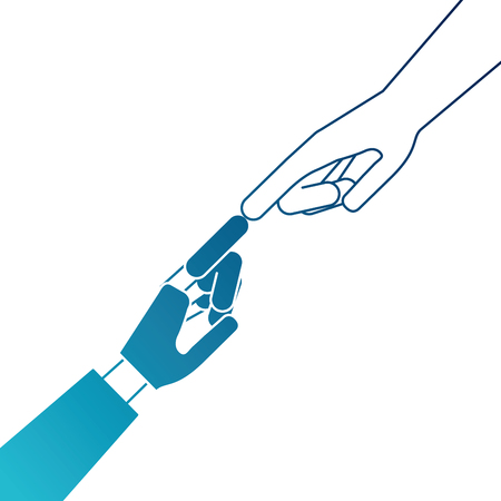 Human hand with robot hand vector illustration design