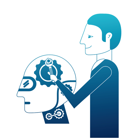 Scientist repairing humanoid robot vector illustration design Illustration