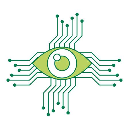 Occhio con progettazione dell'illustrazione di vettore dell'icona del circuito Archivio Fotografico - 93121007