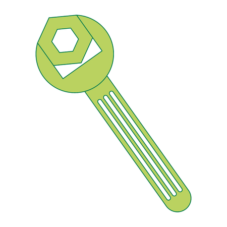 wrench key and nut vector illustration design