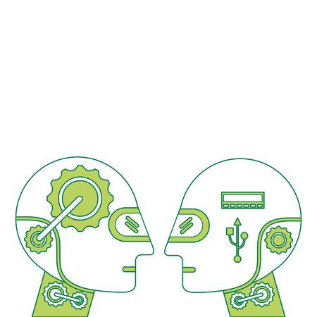 Humanoid robots profiles icon