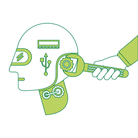 humanoid robot profile with wrench and hand vector illustration design
